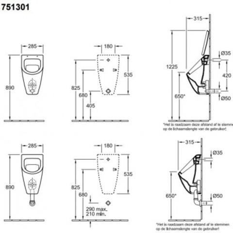 Villeroy & Boch Subway urinoir - voor deksel - CeramicPlus