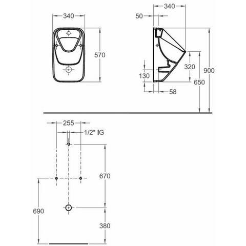 Sphinx 300 urinoir boveninlaat - met keramisch rooster - met vlieg