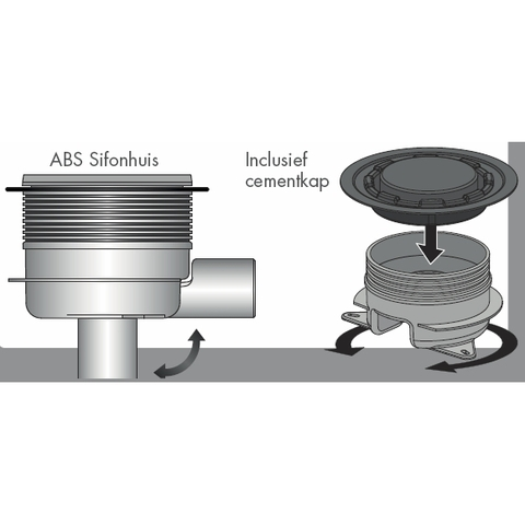 Easydrain Aqua brilliant vloerput abs 15 x 15 cm.zij-en onderuitloop rvs geborsteld