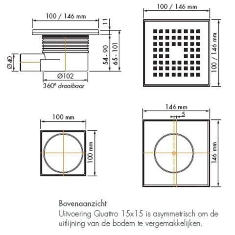 Easydrain Aqua quattro vloerput abs 10 x 10 cm. horizontaal