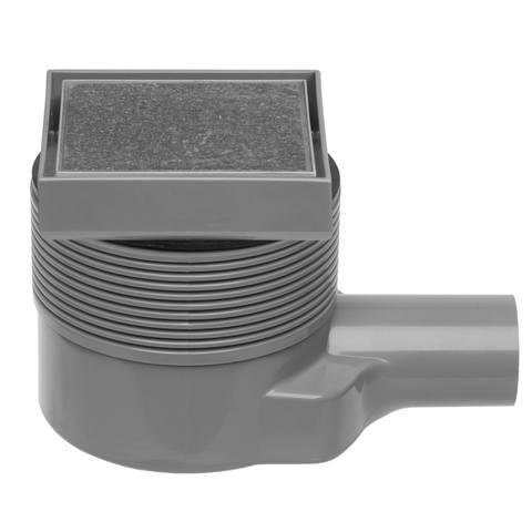 Easydrain Aqua quattro vloerput abs 10 x 10 cm. horizontaal tegel / rvs