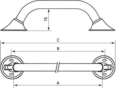 Handicare Ergogrip wandbeugel 40 cm. wit