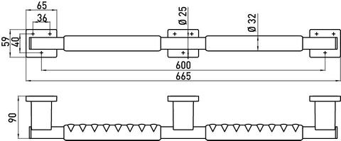 Emco System 2 handgreep 66,5 cm. chroom-zwart