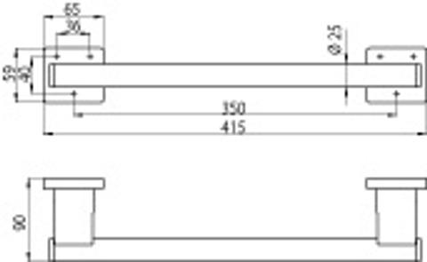 Emco System 2 handgreep 41.5 cm. recht chroom