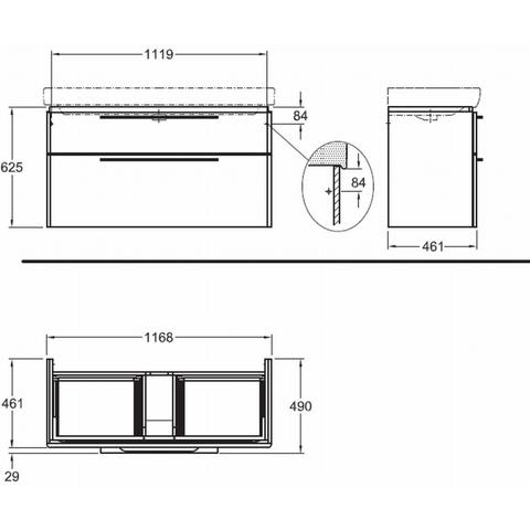 Sphinx 335 wastafelonderkast 120cm - 2 lades - hoogglans wit