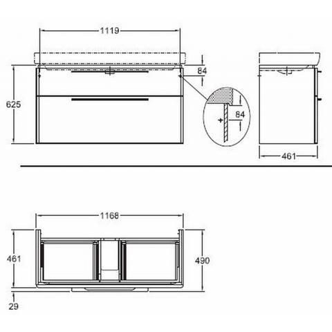 Sphinx 335 wastafelonderkast 120cm - 2 lades - lichtgrijs