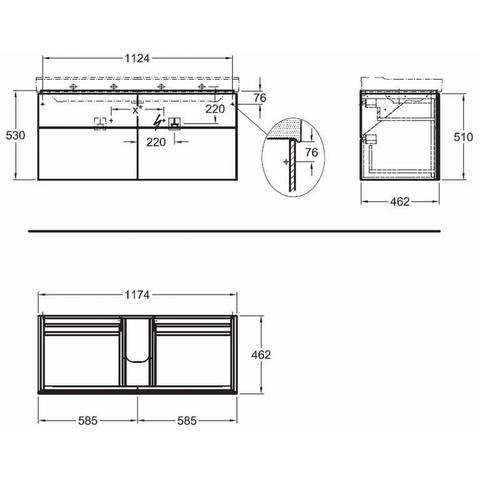 Geberit Xeno2 wastafelonderkast 4 la 117,4x46,2cm scultura grijs scultura grijs