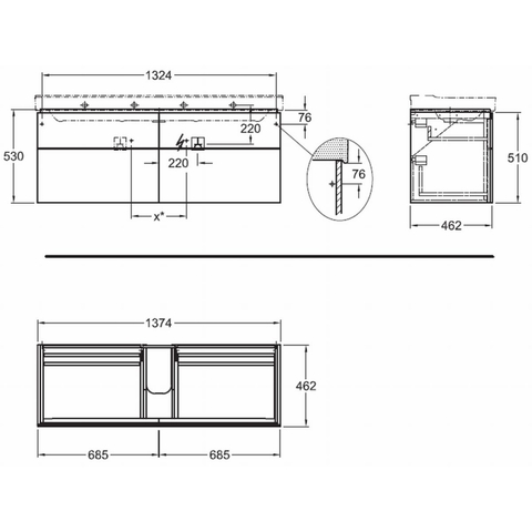 Geberit Xeno2 wastafelonderkast 4 laden 137,4cm wit wit