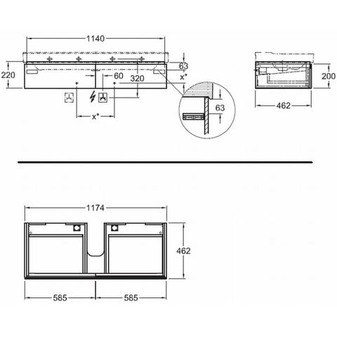 Geberit Xeno2 wastafelonderkast 2 la 117,4x46,2cm scultura grijs scultura grijs