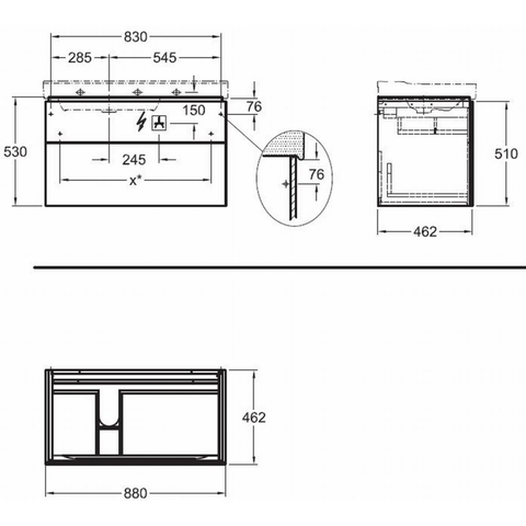 Sphinx 420 wastafelonderkast 2x lade voor wastafel 90cm links greige