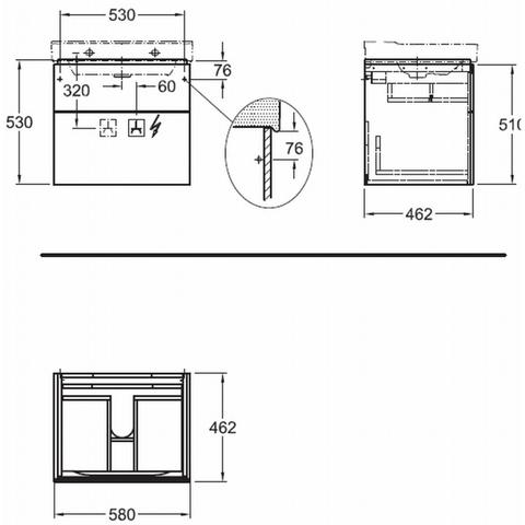 Geberit Xeno2 wastafelonderkast 2 laden 58x53cm greige greige