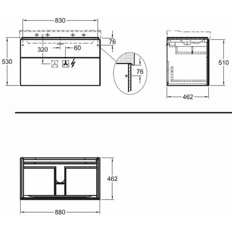 Geberit Xeno2 wastafelonderkast 2 laden 88x53cm greige greige