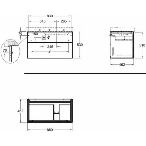 Geberit Xeno2 wastafelonderkast 2 laden 88x53cm scultura grijs scultura grijs