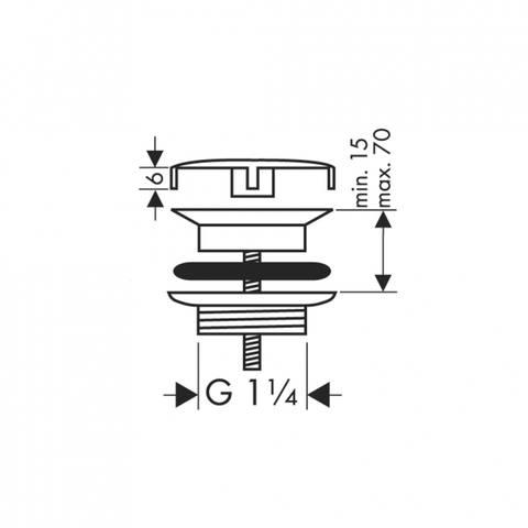 "Hansgrohe Universeel afvoerplug 1 1/4"" chroom"