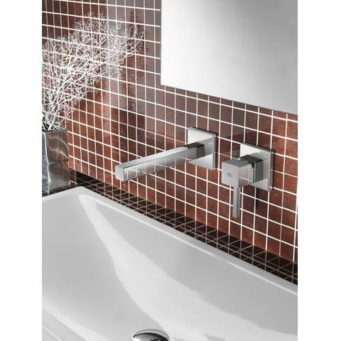 Hotbath Bloke Q005 inbouw wastafelmengkraan met rechte uitloop geborsteld nikkel
