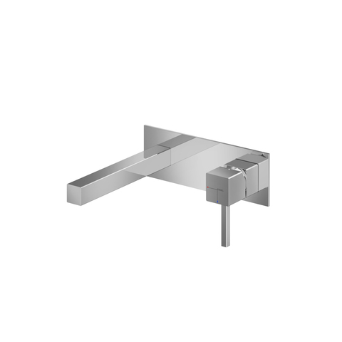 Hotbath Bloke Q006 inbouw wastafelmengkraan met rechte uitloop op achterplaat geborsteld nikkel
