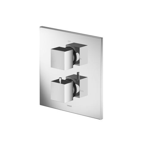 Hotbath Bloke Q009 inbouw douchethermostaat met 2-weg stop-omstel geborsteld nikkel