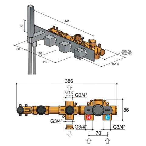 Hotbath Bloke Q061 inbouwthermostaat met 2 stopkranen geborsteld nikkel