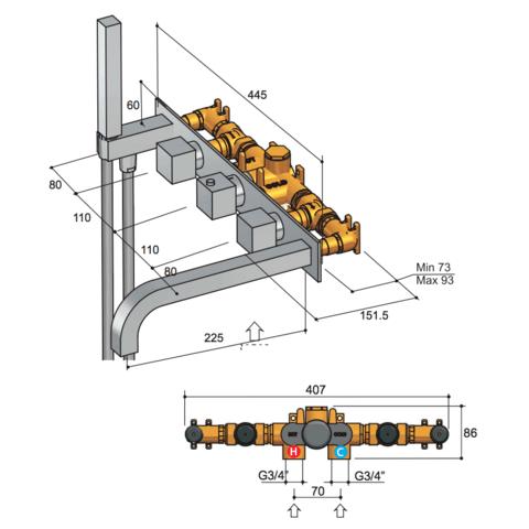 Hotbath Bloke Q062 inbouw badthermostaat met 2 stopkranen & uitloop chroom