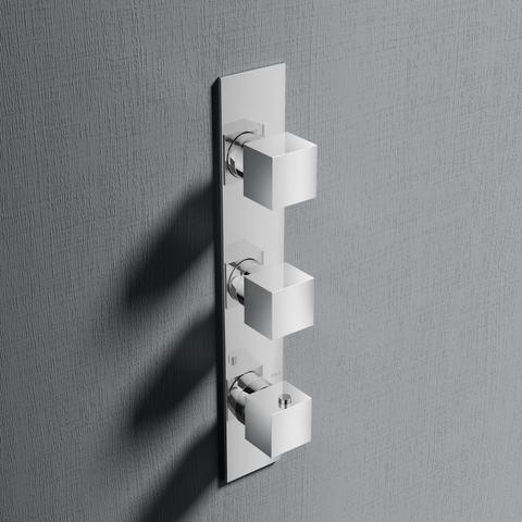 Hotbath Bloke Q066 inbouw thermostaat met 2 stopkranen verticale plaatsing geborsteld nikkel