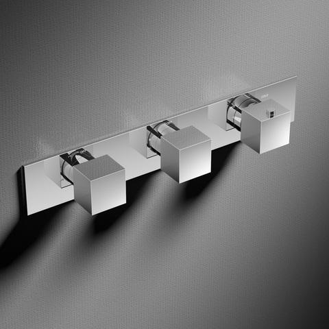Hotbath Bloke Q067 inbouw thermostaat met 2 stopkranen horizontale plaatsing geborsteld nikkel