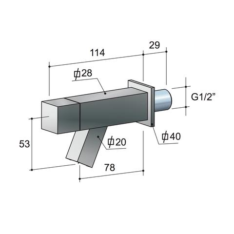 Hotbath Dude QW001 inbouw fonteinkraan vierkant chroom