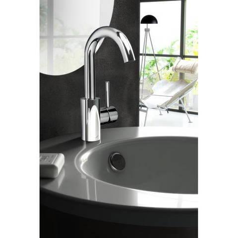 Hotbath Buddy B004 wastafelmengkraan met draaibare uitloop zonder waste geborsteld nikkel