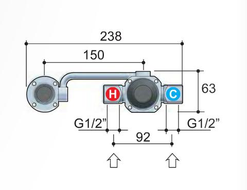 Hotbath Buddy B005J inbouw wastafelmengkraan met gebogen uitloop uitloop geborsteld nikkel