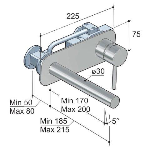 Hotbath Buddy B006 inbouw wastafelkraan met rechte uitloop en achterplaat chroom