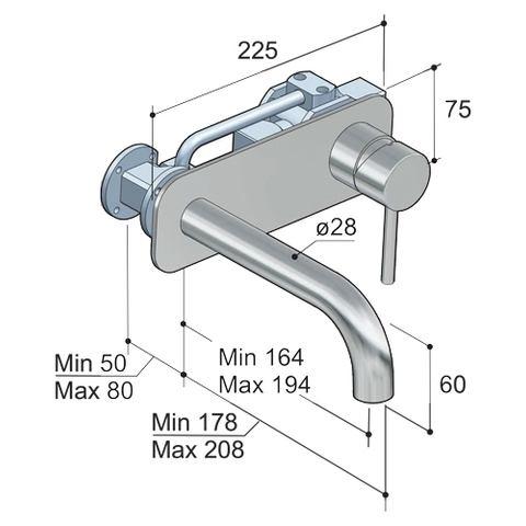Hotbath Buddy B006J inbouw wastafelmengkraan met gebogen uitloop en achterplaat geborsteld nikkel