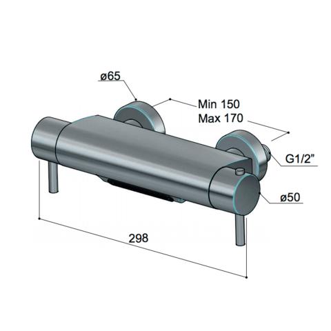 Hotbath Cobber 021 badthermostaat Cascade watervaluitloop geborsteld nikkel