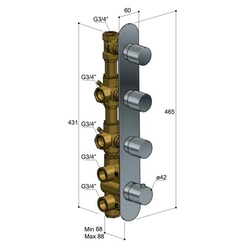 Hotbath Buddy B050 inbouw douchethermostaat met 3 stopkranen - verticale plaatsing - geborsteld nikkel