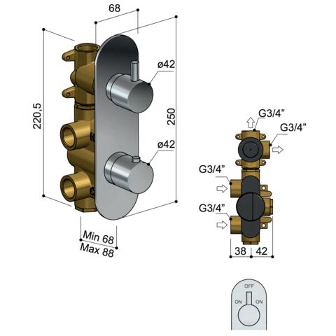 Hotbath Buddy B051 inbouwthermostaat met 2-weg omstel - chroom