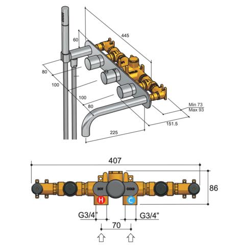 Hotbath Buddy B062 inbouw badthermostaat met 2 stopkranen & uitloop chroom