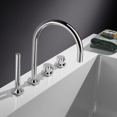 Hotbath Buddy B063 thermostische badrandcombinatie met uitloop geborsteld nikkel