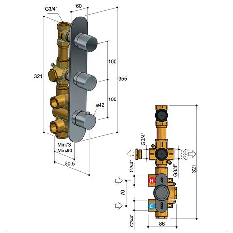 Hotbath Buddy B066 inbouw thermostaat met 2 stopkranen - verticale plaatsing - geborsteld nikkel