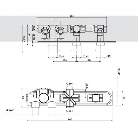 Hotbath Buddy B067 inbouw thermostaat met 2 stopkranen horizontale plaatsing chroom
