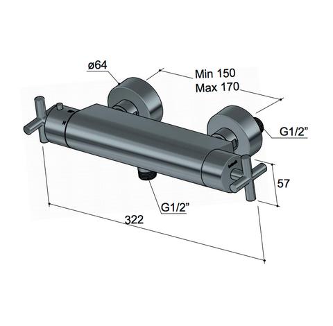 """Hotbath Chap C008 opbouw thermostaat met 1/2"""" doucheslang met onderaansluiting geborsteld nikkel"""