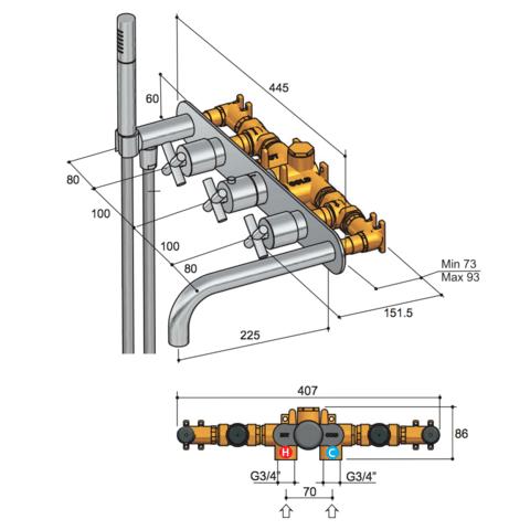 Hotbath Chap C062 inbouw badthermostaat met 2 stopkranen & uitloop chroom