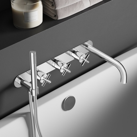 Hotbath Chap C062 inbouw badthermostaat met 2 stopkranen & uitloop geborsteld nikkel