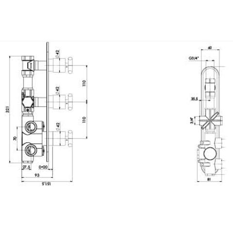 Hotbath Chap C066 inbouw thermostaat met 2 stopkranen verticale plaatsing chroom