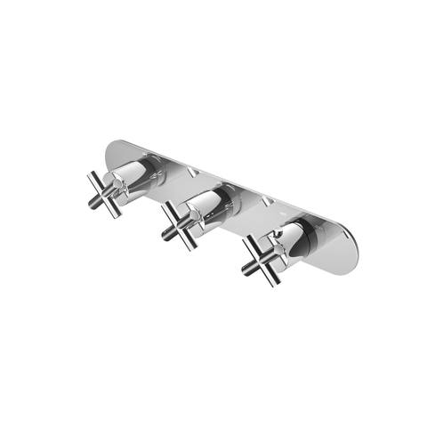 Hotbath Chap C067 inbouw thermostaat met 2 stopkranen horizontale plaatsing geborsteld nikkel