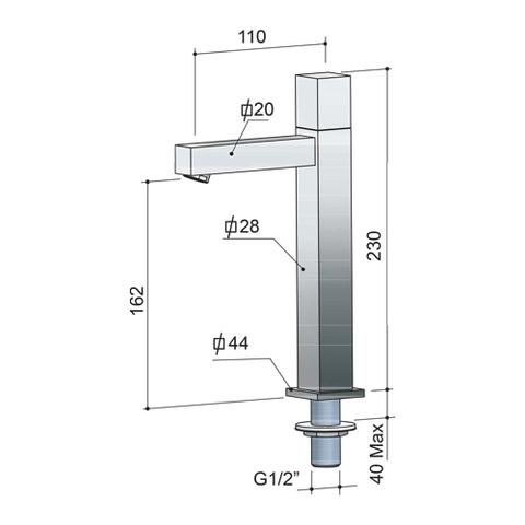 Hotbath Dude QH001 fonteinkraan verhoogde uitloop vierkant geborsteld nikkel