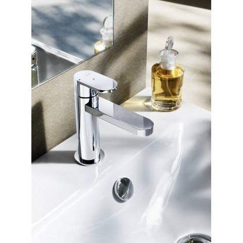 Hotbath Friendo F003 wastafelmengkraan met rechte uitloop zonder waste geborsteld nikkel