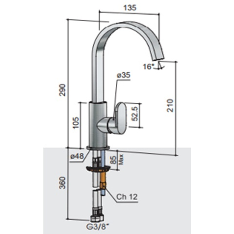 Hotbath Friendo F004C wastafelmengkraan hoog model met draaibare cascade uitloop zonder waste geborsteld nikkel