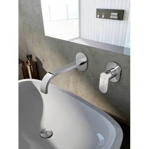 Hotbath Friendo F005C inbouw wastafelmengkraan met cascade uitloop geborsteld nikkel