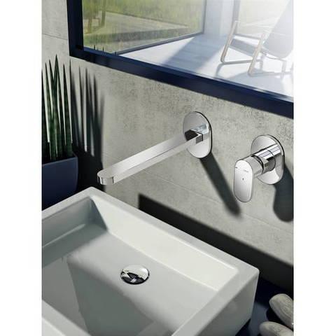 Hotbath Friendo F005 inbouw wastafelmengkraan met rechte uitloop geborsteld nikkel