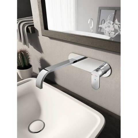 Hotbath Friendo F006 inbouw wastafelmengkraan met cascade uitloop en achterplaat geborsteld nikkel