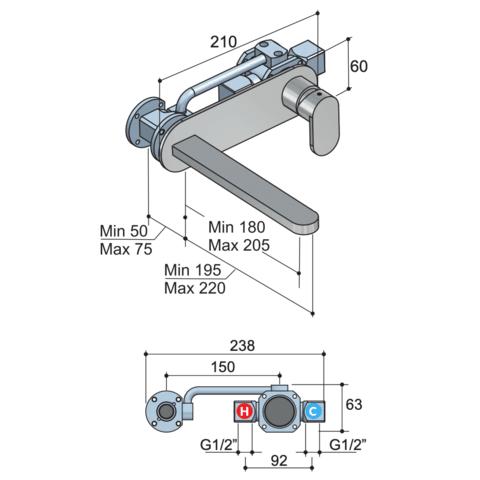 Hotbath Friendo F006 inbouw wastafelmengkraan met rechte uitloop en achterplaat chroom