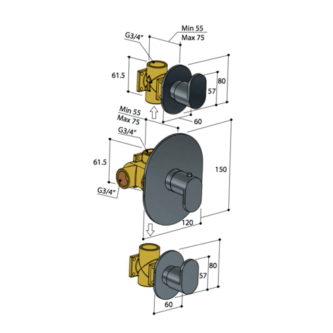 Hotbath Friendo F007 inbouw thermostaat met twee stopkranen geborsteld nikkel